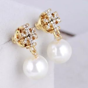 Tory Burch Gold/Crystal Pearl Drop Logo Earrings